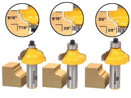 Yonico 13327 3 Bit Edge Molding Router Bit Set with Medium Cove and Ogee 1/2-Inch Shank by Precision Bits.com - Molding Router Bit Set