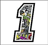 Aufkleber Zahl ANZANL NUMBER 1 RENNEN 12 cm ZENTIMETERN - STICKER BOMB - cross spur auto moto stickers