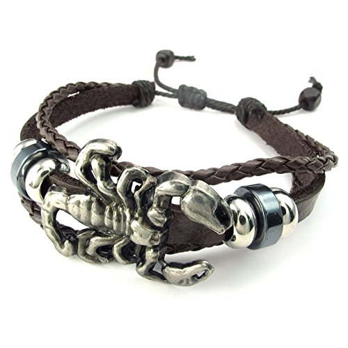 TEMEGO Jewelry Mens Leather Braided Bracelet, Gothic Scorpion Charm Cuff, Fits 7-9 Inch, Brown