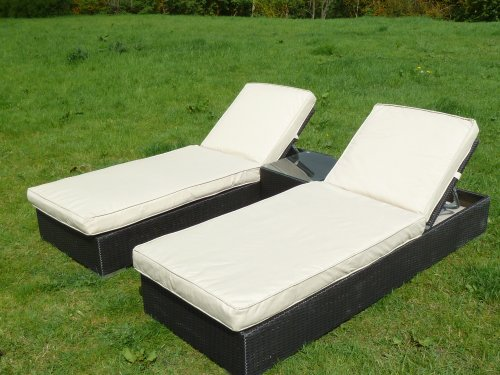 Marbella Sun Lounger Set Dark Brown Sunloungers Garden Rattan Furniture