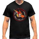 RACEFOXX V-Neck T-Shirt MEN schwarz, Vintage Foxx Logo, Größe S