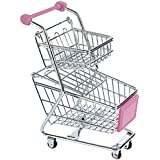 NF&E Kids Children Pretend Play Mini Double Tier Shopping Entertainment Fun Cart Trolley Home Room Office Decor Toy Gift Pink