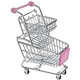 Fenteer Einkaufswagen Supermarktwagen Gitterwagen als Spielzeug oder Tisch Dekoration - Rosa