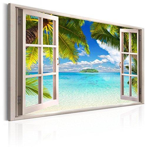 murando - Bilder Fensterblick 120x80 cm - Leinwandbilder - Fertig Aufgespannt - Vlies Leinwand - 1 Teilig - Wandbilder XXL - Kunstdrucke - Wandbild - Fenster Insel Meer See Palme blau a c-C-0090-b-a