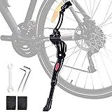 Oziral Cavalletto da bicicletta Cavalletto laterale regolabile in lega di alluminio Portabiciclette MTB Cavalletto laterale universale per bicicletta da 25-29 pollici con 2 chiavi esagonali e 1 chiave