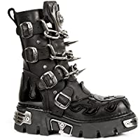 New Rock M.727-S1 Mens Black Leather Skull Flame Reactor Boots