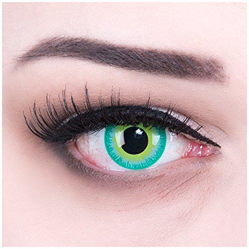 Fun Kontaktlinsen Green Elf mit gratis Linsenbehälter + 60ml Pflegemittel Topqualität zu Karneval und Halloween (Haloween Kontaktlinsen)