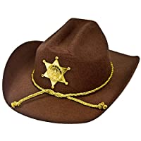ILOVEFANCYDRESS U.S AMERICAN SHERIFF - STURDY COWBOY HAT WITH BROWN FELT MATERIAL AND GOLD PLASTIC STAR SHERIFF BADGE
