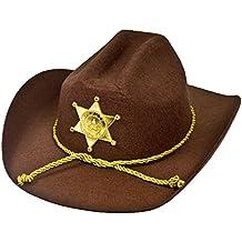 ILOVEFANCYDRESS - Sombrero de sheriff, de fieltro marrón con estrella dorada
