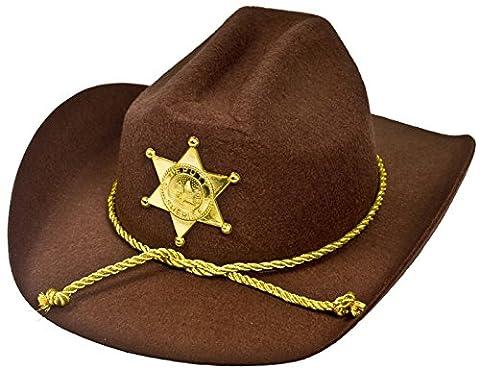 Zombie Halloween Costumes Filles - Un chapeau marron de shérif avec une