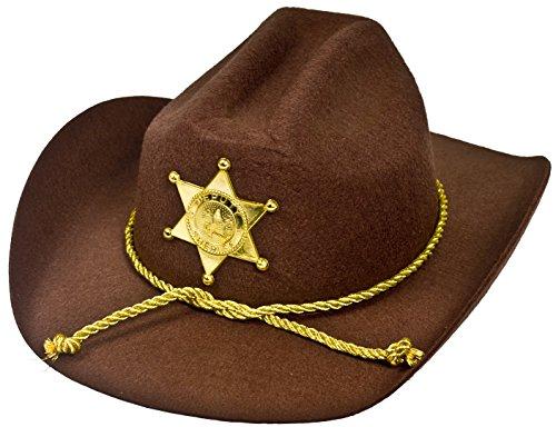 Cowboy-Hut, amerikanischer Sheriffstern, aus braunem Filz, Sheriffstern in Gold, aus Kunststoff (Sheriff Kostüm Walking Dead)