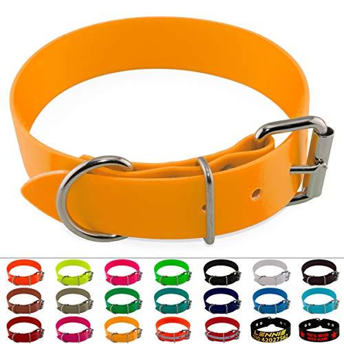 LENNIE BioThane Halsband, Edelstahl-Rollschnalle, 38 mm breit, Größe 38-48 cm, Pastellorange, Aufdruck möglich