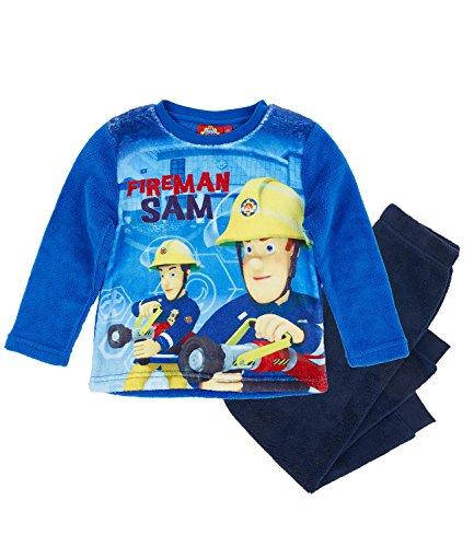 Feuerwehrmann Sam Jungen Pyjama aus Teddy Vlies - blau - 110 (Fleece Pyjama-hosen Jungen)