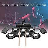 Muslady Elektronische Trommel Set USB Roll Up Silizium Schlagzeug Kompakt Größe Digital 7 Drum Pads mit Trommelstöcke Fußpedale zum Anfänger Kinder Test