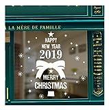 QTZJYLW Weihnachten Fensteraufkleber Frohe Weihnachten Buchstaben Muster Abnehmbare Aufkleber Aufkleber Für Store Home Decor, Weiß