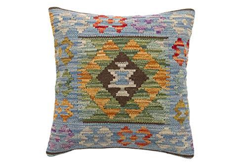 HAMID Cojín Kilim Afgano - Diseño geométrico Tejido a Mano - Funda + Relleno 45x45cm