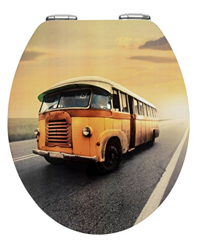 Wenko 21596100 WC-Sitz Vintage Bus - Metal Plate Oberfläche, Absenkautomatik, Metall, mehrfarbig