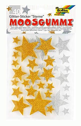 folia 23792 - Moosgummi Glitter Sticker, Sterne, sortiert in silber und gold, verschiedene Größen, 40 Stück - Ideal zum Verzieren und Dekorieren von Grußkarten usw. -