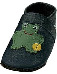 Mopu's® Krabbelschuhe - Lederpuschen in blau mit grünem Froschkönig - handgemachte Markenqualität aus Deutschland