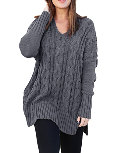 MayStory Damen Pullover Langarm Jumper Strickpullover V-Ausschnitt Schlitz Lang Sweatshirt Oversize (Grau, L (Büste 128-138cm)) (Knit Schwarzes Cable V-neck)