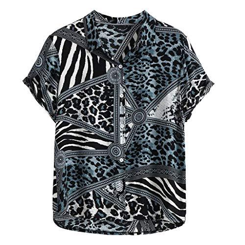 friendGG Mode FüR MäNner Casual Button Print Hawaii Strand Kurzarm Top Bluse T-Shirt Shirt Pullover Herren Hemden Bedruckt LäSsige Krawatte Sommer Tops Hawaiihemd Funky Kragen Druck Retro Shirts