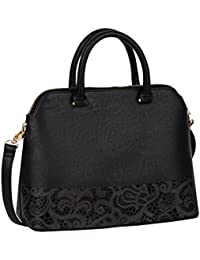 SIX mittel große feste schwarze Damen Henkel Handtasche mit Paisley-Muster, floraler Cut-Out, 31x25x12, abnehmbarer Riemen (427-601)