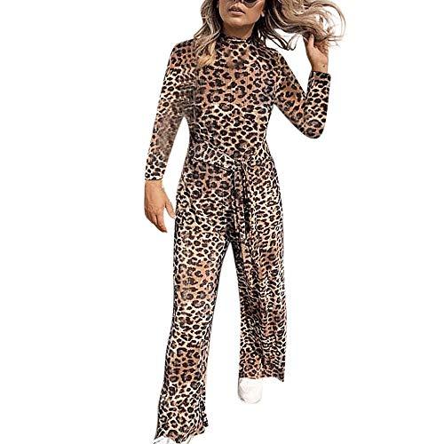 Las Mujeres De Manga Larga Monos Leopardo Lady Suelta Playsuit Pantalones Anchos De Pierna Ancha Verano Playa Suaves Transpirables Lino CordóN Casuales