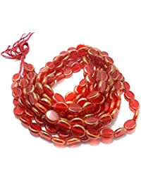 Beadsnfashion Window Metallic Lining Flat Oval Beads Red 12x10 Mm, Pack Of 5 Strings Each 16 Inch
