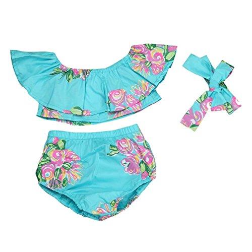 Baby Kleider Anzug, Yannerr Floral Baby Mädchen von Schulter Tops Shorts Outfit Kleidung Kopfbedeckung (12M)