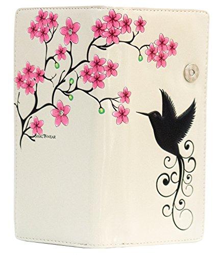Shagwear portafoglio per giovani donne , Large Purse : Diversi colori e design : Colibri Beige/ Hummingbird