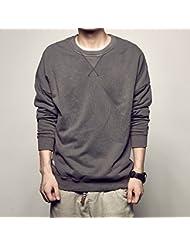 Antiguo Vintage lavado t juvenil masculina suéter de cuello alto sólido color abrigos chaquetas,L