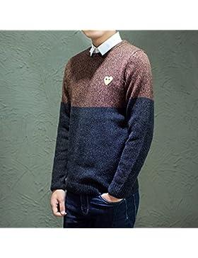 HY-Sweater El Otoño y de Invierno occasionnels de la Moda de Punto Pull para Caballero el Amor, Marrón, L
