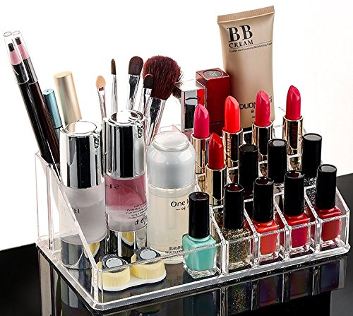 MOHAK Cosmetic Organizer 16 Compartment Cosmetic Makeup Jewellery Acrylic Lipstick Storage Organiser Box