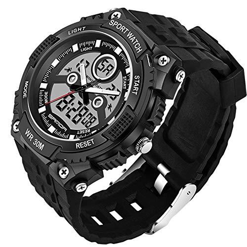 Multifunktions Outdoor Sport Uhren Mit Schwarzem Silikonband/Wasserdicht /LED Licht/Weckerfunktion (Black)