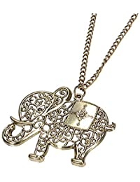 Young & Forever Quirky World Pride Vintage Retro Style Long Chain Elephant Pendant Necklace Jewellery For Girls...