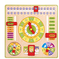 Premewish Children Daily Cognitive Calendar Teaching Clock Hanging Board Wooden Early Education Puzzle Learning Toy, Time Date Season Weather