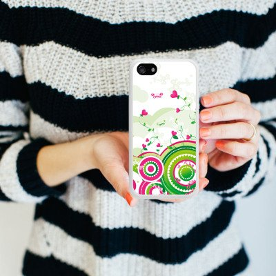 Apple iPhone 5 Housse étui coque protection C½ur couleurs Printemps Housse en silicone blanc