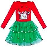 Sunny Fashion Vestito Bambina Natale Babbo Manica Lunga Festa 8 Anni