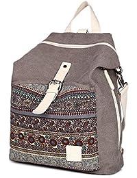MojiDecor Bohemian Canvas Rucksack Schulrucksack Laptop Rucksack Casual Backpack Reise Rucksack Daypack Vintage Herren Damen Rucksack für Arbeit, Schule und Lässige
