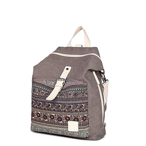 MojiDecor Vintage Canvas Herren Damen Rucksack Bohemien Multifunktionstasche Schultertasche Retro Schulrucksack Backpack für A...