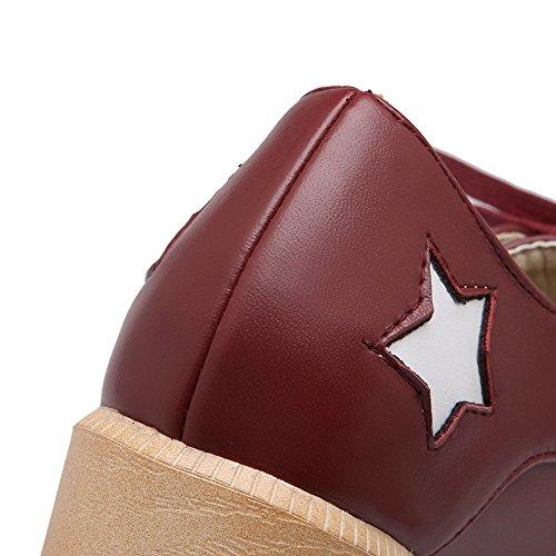 Schn眉ren Material Pumps Zehe Schuhe AgooLar Damen Absatz Mittler Weiches Rot Quadratisch HUnx1Et7x