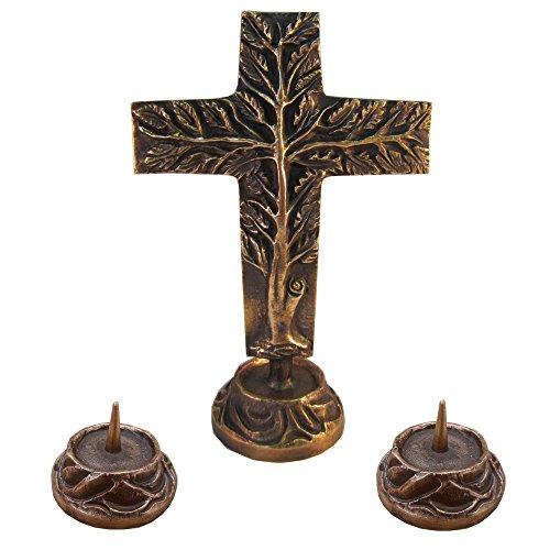 Versehgarnitur Bronze Stehkreuz Lebensbaum doppelseitig Bronze Kreuz 24 cm 2 Kerzenleuchter