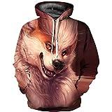 XYL HOME Hoodie,Männer und Frauen realistische 3D-Druck Naughty Hund Pullover Kapuzen Sweatshirt Hoodie große Tasche, M