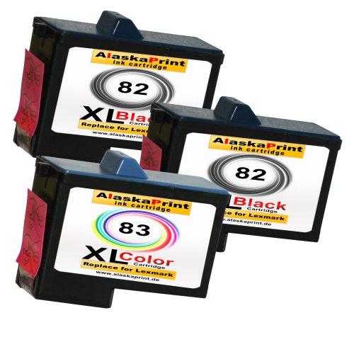 Premium 3er Set Kompatible Druckerpatronen Als Ersatz für Lexmark 82xl + 83xl für Lexmark X5100 X5130 X5150 X6100 X6150 X6170 Z55 Z65 Z56 X6190 X5200 X5190 X5170 Z65p Patronen 2x82+1x83-lex Lexmark Tintenpatronen X6170