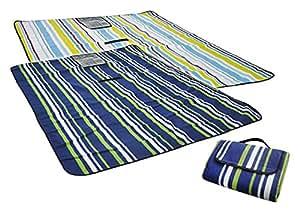 Stranddecke Picknickdecke mit Tragegurt 135x170 hell gestreift