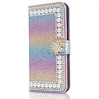 جراب Mylne Diamond لهاتف iPhone 12 Mini، مرصع بأحجار الراين المتلألئة زهرة من جلد البولي يوريثان قابل للطي مع فتحات بطاقة إغلاق مغناطيسية، لون أزرق قوس قزح