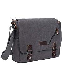 S-ZONE 15 Inches Laptop Men s Large Laptop Messenger Shoulder Bag Vintage  Canvas Briefcase Crossbody cb3ee39caabeb