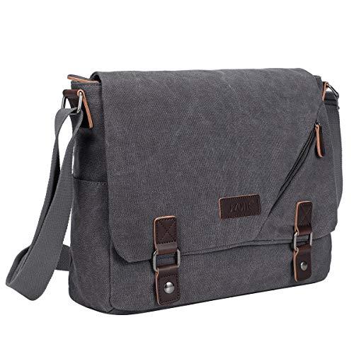 S-Zone Vintage Canvas Messenger Bag Schultasche für 35,6 cm (14 Zoll) Laptop Business Crossbody Bag grau grau