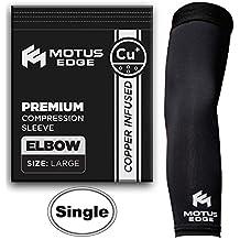 Motus borde cobre con codo de compresión para codo de tenista, tendinitis, Crossfit, alivio del dolor, Negro