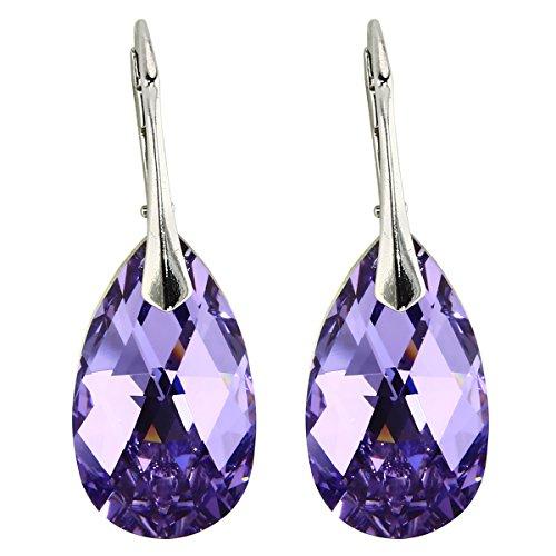 Ohrringe mit Kristallen von Swarovski in geprüfter Qualität von M3Crystal, Nickelfrei Silber 925, Stein Violet Mandel 22mm, Schmuck für Damen Modeschmuck (Lila Ohrringe)